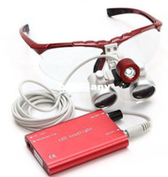Cheap 2014 Hot selling red Dentist Dental Surgical Medical Binocular Loupes Optical Glass Loupe + Portable Red LED Head Light Lamp
