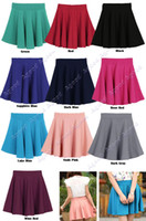 Wholesale New Fashion Women Candy Color Stretch Waist Plain Skater Flared Pleated Mini Skirt