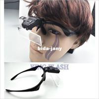 Wholesale Clip On x x x x x Eyeglasses light Magnifier LED Magnifying glass Reading Black
