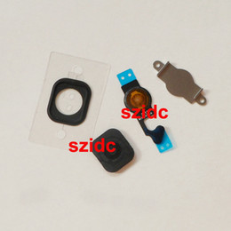 Wholesale 200pcs set Home Button With Home Button Flex Cable Bracket Holder Rubber Gasket For iPhone Black White