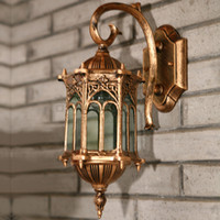 AC outside hanging lights - Waterproof Vintage Hexagon Hanging Outdoor Wall Lamps European Villa Landscape Outside Wall Lights Corridor Hallway Wall Sconces Fixtures