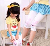 Shorts Girl Summer Summer 2014 Korean Children Girls Leggings Rabbits Animal Pattern Small Bow Knot Elastic Lace Edge 7th Capri Pants Child Kids Skinny F0217
