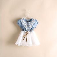 2014 El más nuevo verano de los bebés Jean Denim Faldas chicas vestidos de encaje de Tutu con la correa de la princesa del vestido de partido SY