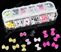 Wholesale 12 Colors Beauty D Resin Bowknot Glitters Stickers Beads DIY Nail Art Tip Decorations