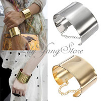 Celeb Style Punk Cuff Bracelet Metallic Gold Silver Bangle W...