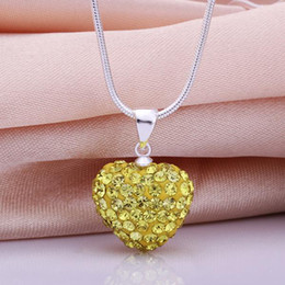 Best Gift 925 Silver Jewelry Heart Shamballa Necklace Yellow Rhinestone Disco Crystal Bead Necklace 18inch Fashion Hot Sale