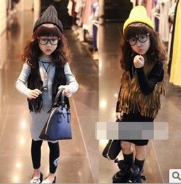 Wholesale Girls Sleeveless Tops Cardigan Children Clothing Child Tank Top Kids Clothes Kid Fringe Vest Jacket Spring Summer Brown Black D2439