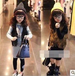 Wholesale Girls Sleeveless Tops Cardigan Children Clothing Child Tank Top Kids Clothes Kid Fringe Vest Jacket Spring Summer Brown Black D2439