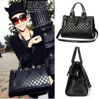 Wholesale S5Q Women s Tote Satchel Fashion Black PU Leather Handbag Shoulder Bag Messenge AAACZU