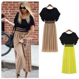 Wholesale 2014 Fashion Bohemia Women s Skirt High Waist Ruffle Sleeve Sexy Vintage Long Chiffon Dress Summer Maxi Dresses Plus Size G0222