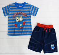 Wholesale 2014 New giggle and hoot boys summer clothing sets Tshirt Jeans suits sets for children sets