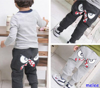 Casual Pants Boy Spring / Autumn Hot Sale 2014 New Girls Boy Clothing Autumn Clothes Face Sport Trousers Big Eyes Pants Trousers Children's Casual Pants 5pc lot 2-8T, Melee