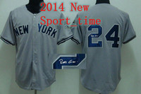 Baseball Men Short New York Yankee #24 Blank Gray Autographed baseball jerseys Robinson Cano signed baseball shirts 2014 new arrival best athletic apparel
