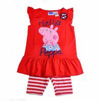 Girl Summer fit for 1-5T kids Kids Peppa Pig red pajamas girls short sleeve Tee shirt top + stripe shorts pajamas Girls Peppa Pig cartoon style sleepwear cute sleep suit
