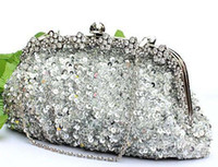 antique beaded evening bags - Brand New Fashion silver crystal sequin heavy beaded antique wedding bridal handbag evening party handbag clutch