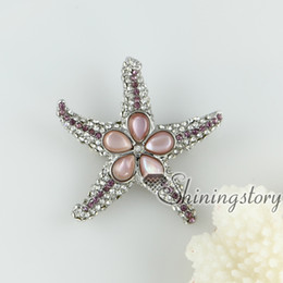 pink oyster shell rainbow abalone shell rhinestone starfish star fish teardrop flower brooch mother of pearl jewelry Hand made jewelry