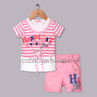 Wholesale 2014 New Arrival Girls Clothing Set Pink And White Striped Printed Top With Pink Pants Kids Summer Casual Clothing Ready Stock CS40322