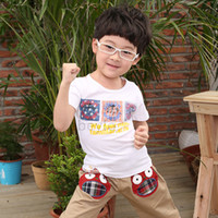 Boy Summer Standard Children Clothing Boys Clothes 2014 SUMMER outfit O-neck tee Baby Boys Shirt T-shirt Cool Style Pure Cotton 4 Colors 4PCS LOT Drop Shipping