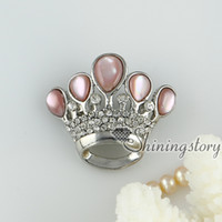 Wholesale pink oyster shell rainbow abalone shell rhinestone crown openwork brooch mother of pearl jewellry Hand made jewelry Fashion jewelry