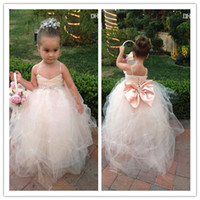 Wholesale LM New Real photo Kids Girl s Pageant Dresses Back bow beads Online Shopping Flower Girl Dress With Spaghetti Straps Draped
