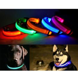 Descuento m seguridad S5Q de Luz LED Parpadeante de Perro Collar de Seguridad Para la Noche de Nylon Ajustable M L XL AAADAA