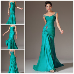 Wholesale Real Pretty Beaded Cap Sleeve Ruched Peacock Chiffon Long Prom Dresses Evening Formal Gown Social Occassion ED432