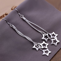 Dangle & Chandelier Silver Women's New Fashion Jewelry 925 silver earrings 3 Pentagram charms earrings ladies earrings 10pairs