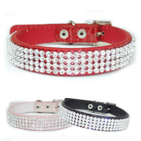 Wholesale S5Q Croc Dog Cat Rhinestone Collars Crystal Diamond Pet Puppy PU Leather Collars AAADAB