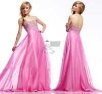 Cheap Pink A-line Chiffon Low Back Beaded Bodice Evening Dresses Made In China Party Girls