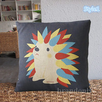 Wholesale 2014New Home style Animals Linen Pillow Cover Cartoon Elephant And Black Cat Sofa Cushions Linen Pillow Cases