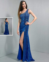 Reference Images Sweetheart Sequined 2014 Sexy Blue Crystals Long Wow Prom Dresses Mermaid Beaded Sequins Split Front One shoulder Pageant Graduation Gowns Free Shipping Custom
