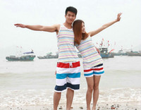 Men Shorts Striped 2014 new swimwear holiday pants red+white+blue stripe design lovers beach pants quick-drying fabric 6pcs lot (women 3pcs, men 3pcs) 4013