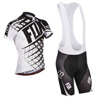 Wholesale new white FOX team men s cycling jersey cycling wear short sleeve and bib shorts