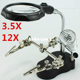 Wholesale 3 X mm X mm Helping Hand Repair Magnifier LED Light Magnifying Glass with Soldering Stand for Soldering Model Iron