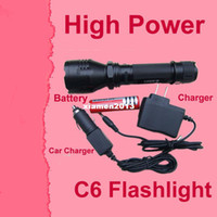 Wholesale CREE Q5 Lumen Mode UltraFire C6 LED Flashlight Rechargeable LED Torch Car charger Portable Charger x3000mah Battery