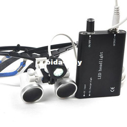 Wholesale 3 X320mm Portable Black Dentist Surgical Medical Binocular Dental Loupe Optical Glass with LED Head Light Lamp