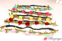 Headbands multicolor Bohemian New Arrival Bride Flower Headbands Festival Wedding Floral Garland Leather Hair Band Headwear Multicolor Hair Accessories For Women FS177