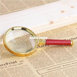 Wholesale mm Red Wooden Handle Magnifier Loupe With Golden Frame Wide Useful Magnifying Glass For Reading Jewelry