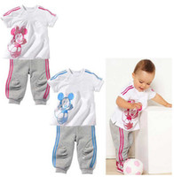 Girl Summer Short Wholesale - Baby's 2pcs Suits=Tshirt+Pants 2 Designs 5 Sizes 18M-5T Short-Sleeve Outfits Sets Outwear Baby Clothing 5s l