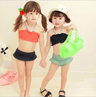 Girl Bikinis 3-7year Girls lovely Wrapped chest Bikini hot spring bathing suit Children Swimwear set 3-7 year Baby Kids Swimsuit 5pcs lot