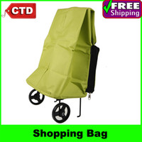 Folding Plain PP Green Oxford Cloth Waterproof Folding Trolley Tug Shopping Bag