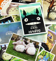 Wholesale A hand painted Totoro Hayao Miyazaki Edition blessing Postcards Greeting Cards Pieces Box