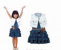 Girl Spring / Autumn Sleeveless New arrival retail baby girl`s two-piece dress Children's clothing freeshiping white vest denim skirt summer sleeveless suit freeshipping