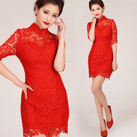Wholesale New Arrival Chinese Lace Cheongsam Sexy Sheath Column High Neck Half Sleeve Sexy Short Evening Dresses