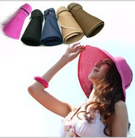 Visor   Brand New Summer Fashion Woman Wide Brim Roll Up Sun Straw Beach Hat Visor Cap Foldable
