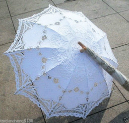 Wholesale Battenburg colors Ivory white black red Lace Parasol Umbrella Wedding Bridal A