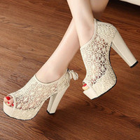 Wholesale Hot Sexy Lace Hollow out Womens Shoes Tassel Zip High Heels Peep toe Pump Sandal Hot