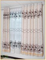 Wholesale Simple european gold flock printing curtain cloth brief fashion thickening curtain window screening
