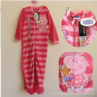 Girl Spring / Autumn coral fleece baby romper peppa pig baby girls jumpsuits baby coral fleece rompers pajamas children sleeping bags kids red color cute pcs lot