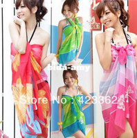 Wholesale Sexy Pareo Dress Sarong Bikini Cover Up Scarf Wrap Swim swimwear Beach Beautiful Charming multi colors